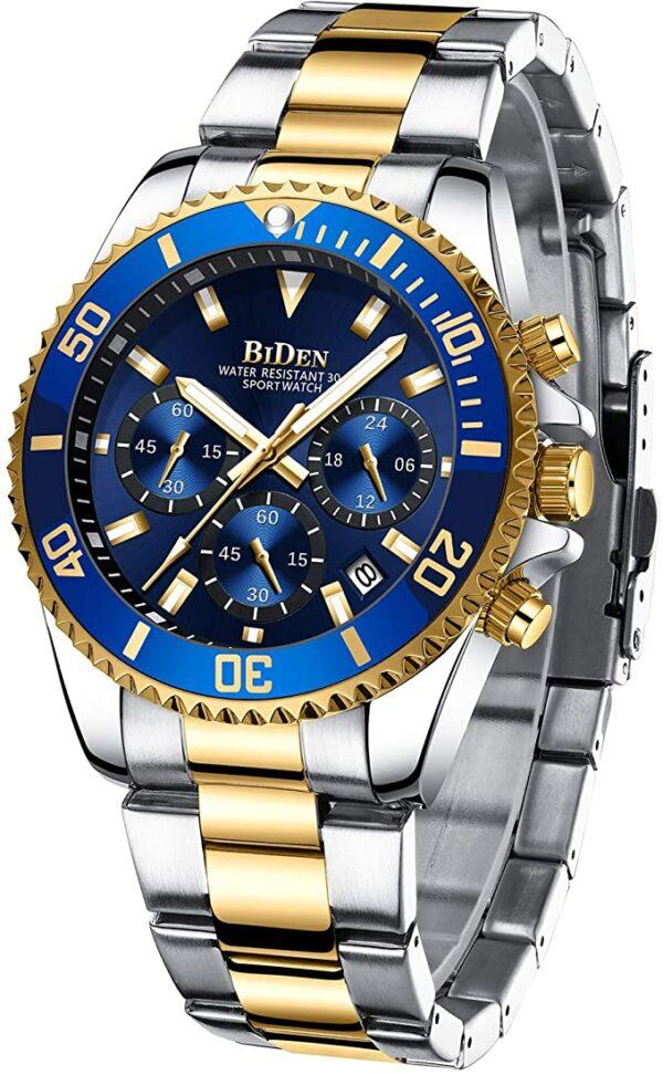Relojes para hombre, cronógrafo, acero inoxidable, impermeable